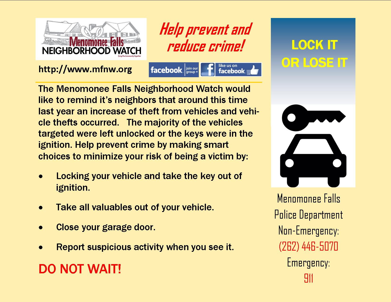 Menomonee Falls Neighborhood Watch (MFNW)